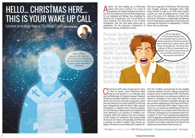 An image from a magazine showing the ghosts of christmas past and present