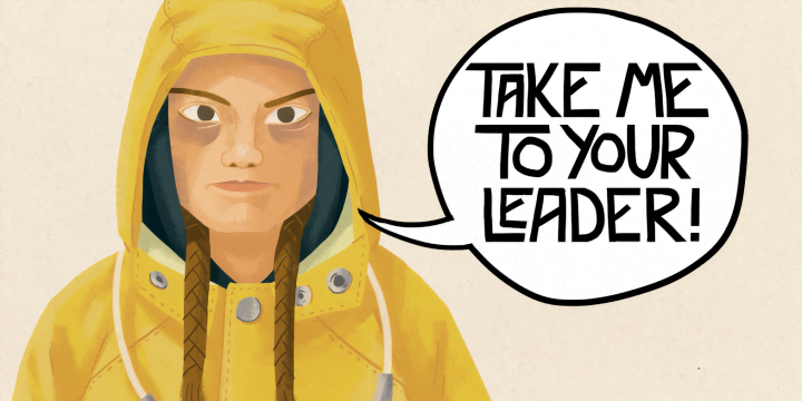 an illustration of Greta Thunberg with a speech bubble saying take me to your leader